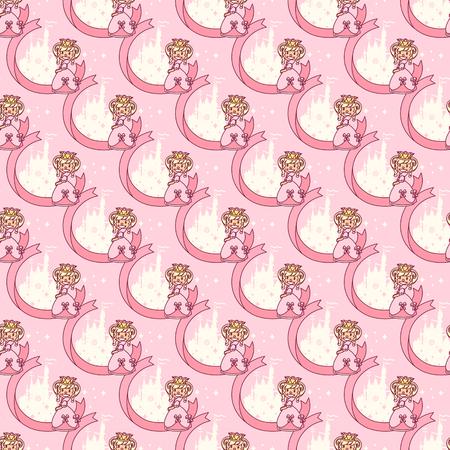 vector seamless pattern Little Princess paper art Illustration