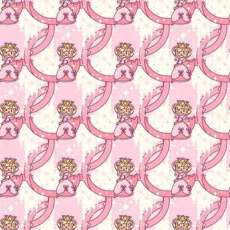 vector seamless pattern Little Princess paper art Ilustrace