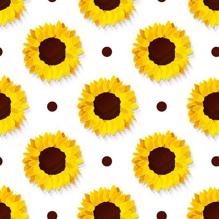 vector sunflower seed head flower seamless pattern