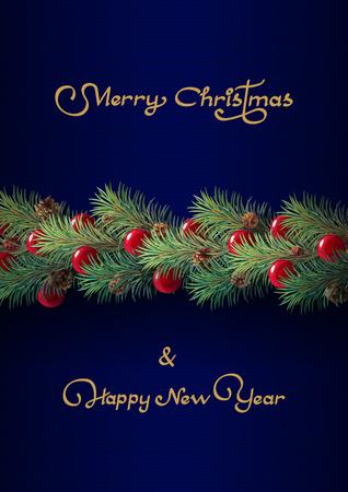 vector Merry Christmas Xmas card, winter postcard
