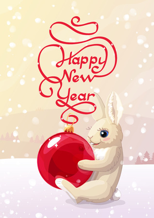vector happy new year cute winter postcard