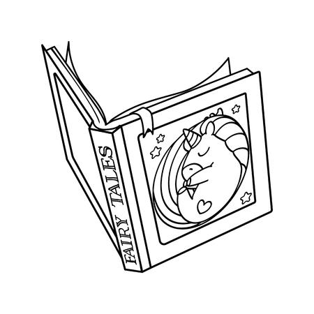 vector, abierto, libro colorear, página, cuento de hadas Ilustración de vector