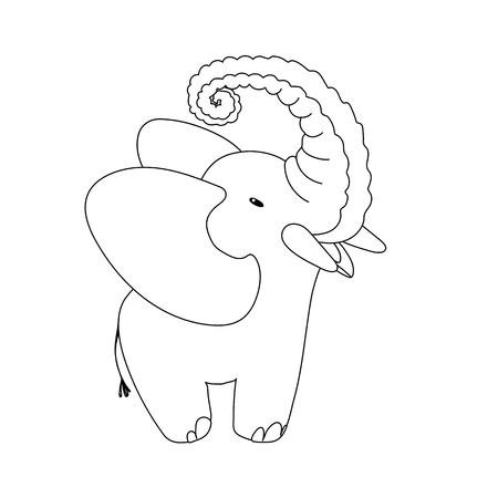 vector cartoon animal clipart happy elephant art