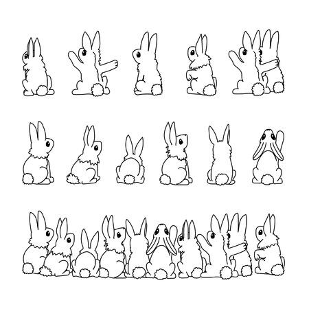 vector line cartoon animal clip art rabbits set