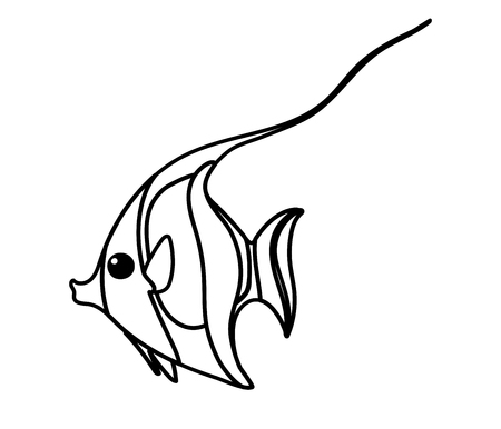 vector line cartoon animal clip art moorish idol fish