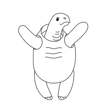 vector line cartoon animal clip art tortoise, turtle