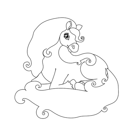 vector flat cartoon animal clip art beauty lying horse
