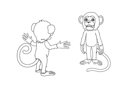 vector line cartoon animal clip art chimp monkey Foto de archivo - 123436067