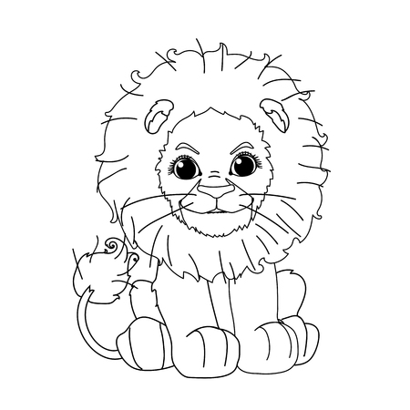 vector line cartoon animal clip art cute little lion