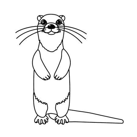 vector line cartoon animal clip art river common otter