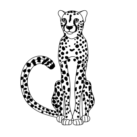 vector line cartoon animal clip art african cheetah Illustration