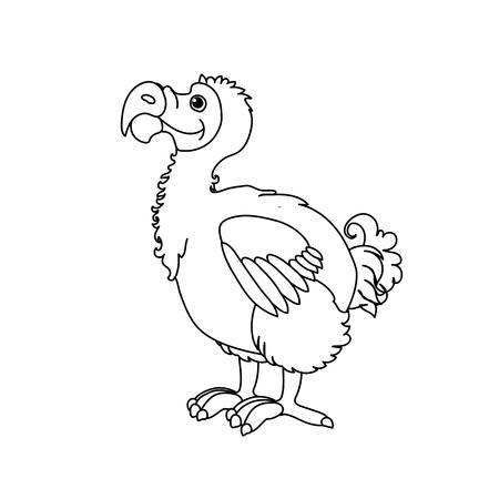 vector line cartoon animal clip art dodo bird