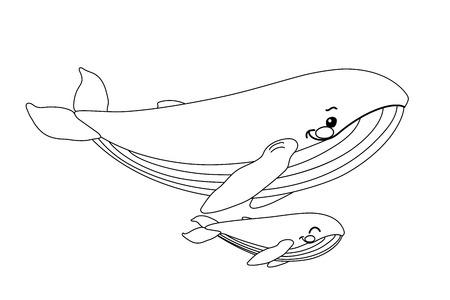 cartoon animal clip art blue whales family