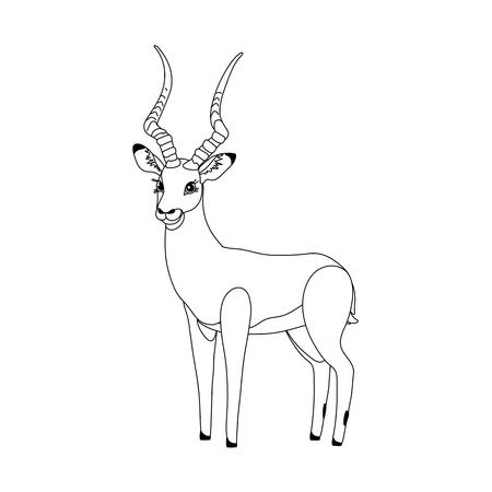 vector line cartoon animal clip art cute impala