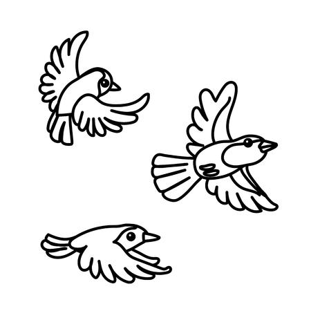 vector line cartoon animal clip art robin bird Иллюстрация