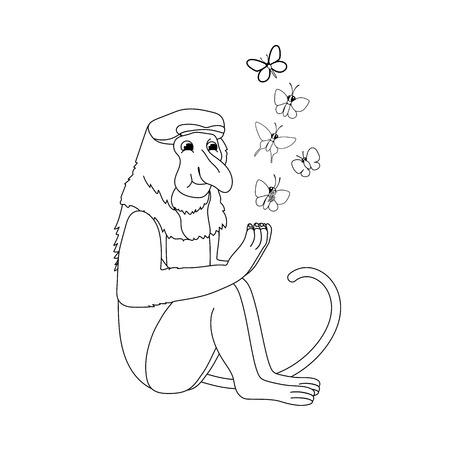 vector line cartoon animal clip art proboscis monkey