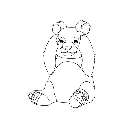 vecteur ligne dessin animé animal clipart assis panda géant