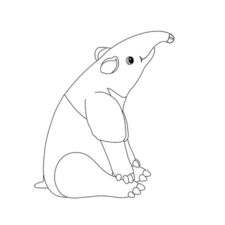 vector line cartoon animal clip art cute tapir