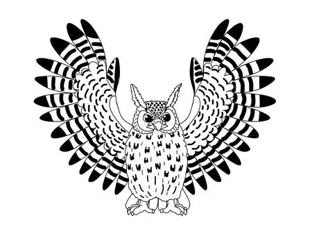 vecteur ligne dessin animé animal clip art aigle-hibou oiseau