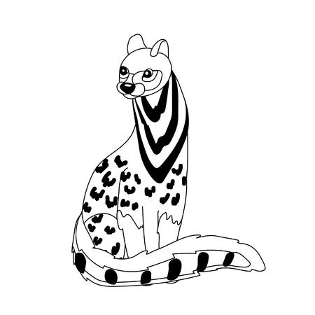 vector line cartoon animal clip art civet cat Vetores