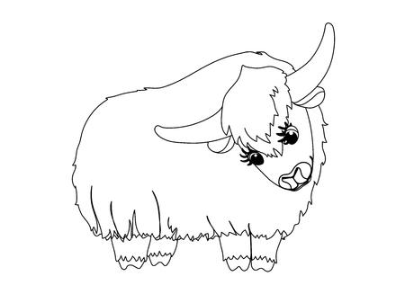 vector line cartoon animal clip art lovely yak Illustration
