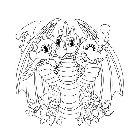 vector line cartoon animal clip art 3 headed red dragon Stock Illustratie