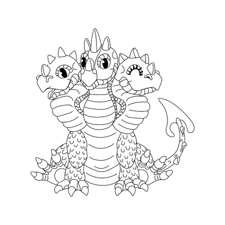 vector line cartoon animal clip art 3 headed red dragon Illustration