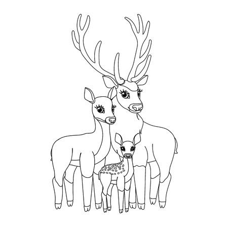 vector line cartoon animal clip art Red deers family Illusztráció