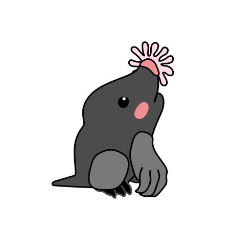 vector scandi cartoon animal clip art star-nosed mole