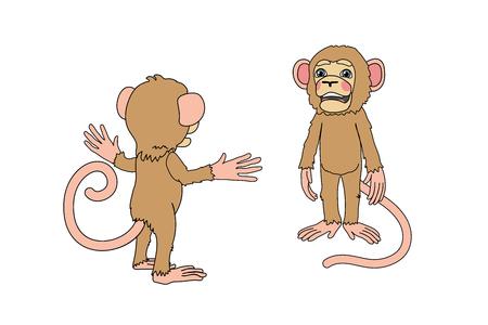 vector scandi cartoon animal clip art chimp monkey Vettoriali