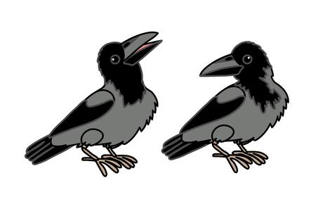 vector scandi cartoon animal clip art crown birds Illustration
