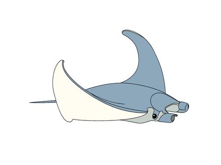 vector scandi cartoon animal clip art exotic manta ray Vetores