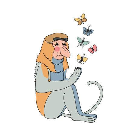 vector scandi cartoon animal clip art proboscis monkey
