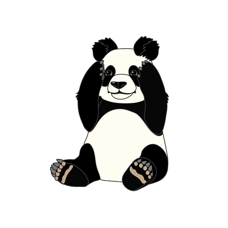 vector scandi cartoon animal clip art sitting giant panda Vektorgrafik