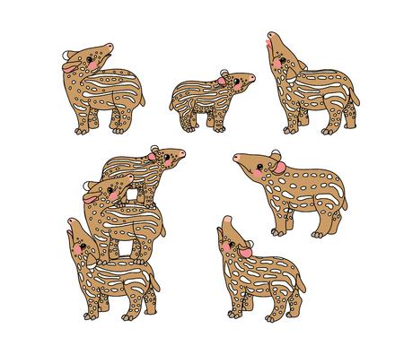vector scandi cartoon animal clip art little tapirs