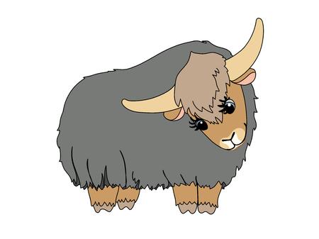 vector scandi cartoon animal clip art lovely yak
