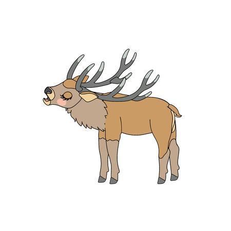 vector scandi cartoon animal clip art horned Red deer Illustration