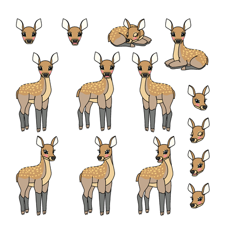 vector scandi cartoon animal clip art fawn Red deer set