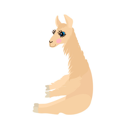 vector flat cartoon animal clip art lady llama