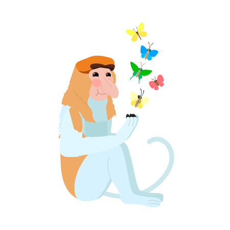 vector flat cartoon animal clip art proboscis monkey Иллюстрация