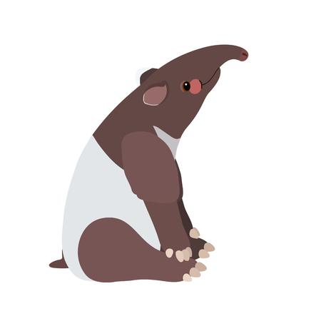 vector flat cartoon animal clip art cute tapir