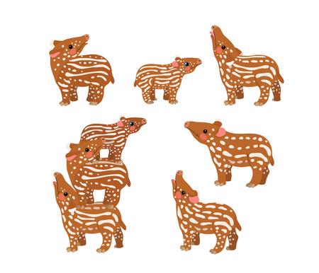 vector flat cartoon animal clip art little tapirs Ilustrace