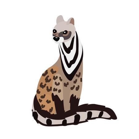 vector flat cartoon animal clip art civet cat Vetores