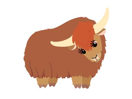 vecteur, plat, dessin animé, animal, attachez art, beau, yak
