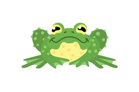 vecteur, plat, dessin animé, animal, clip art, vert, grenouille, crapaud