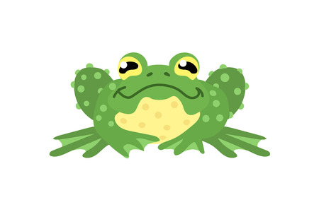 vector flat cartoon animal clip art green frog, toad 矢量图像