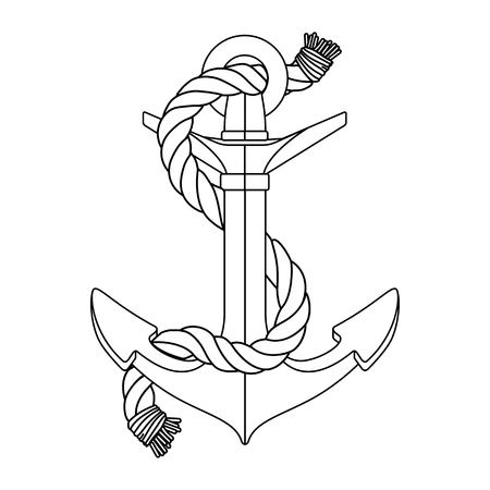 vector black white rope outline sea icon vintage Anchor