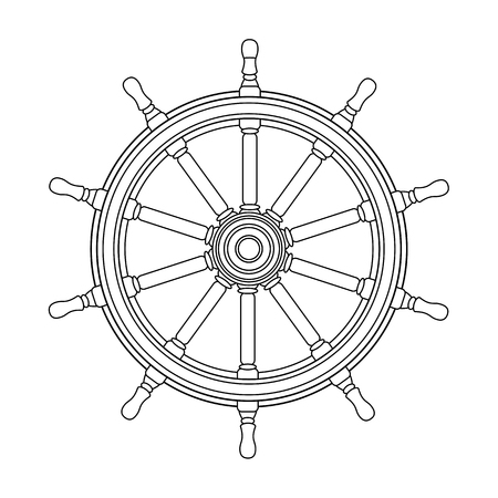 vector black, white boat handwheel, ship wheel helm. Sea, ocean symbol