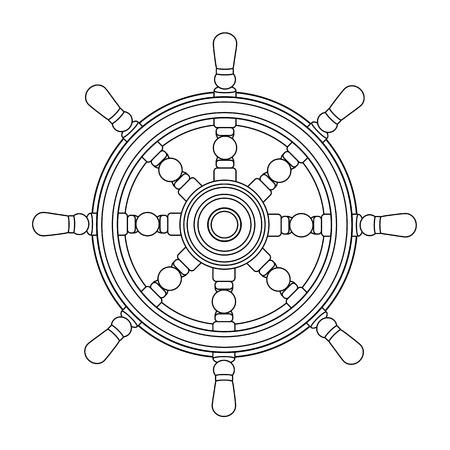 Vektorschwarzes, weißes Bootshandrad, Schiffsradhelm. Meer, Ozeansymbol