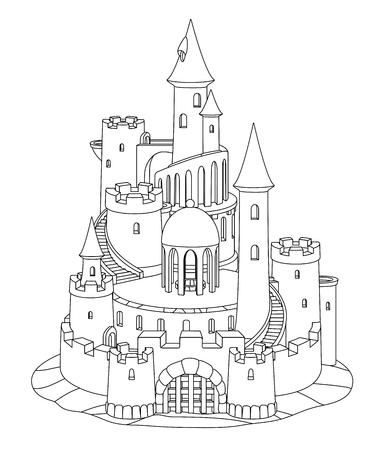 vector black, white fantasy castle sand, sandcastle fort sculpture Foto de archivo - 123992899